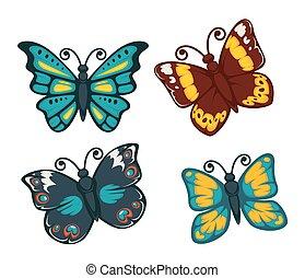płaski, komplet, barwny, ikony, odizolowany, motyle, wektor