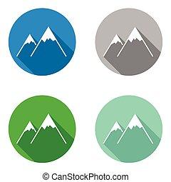 płaski, komplet, barwny, ikony, wektor, góra
