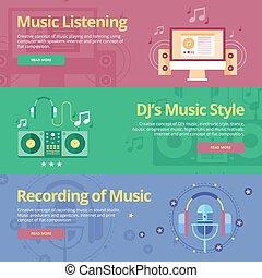 płaski, komplet, dj's, recording., muzyka, pojęcia, słuchający, styl