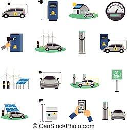 płaski, komplet, elektryczny, ikony, wóz, ładujący
