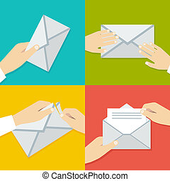 płaski, komplet, envelope., ręka, wektor, dzierżawa, ...