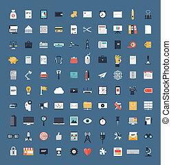 płaski, komplet, finanse, handlowe ikony, cielna