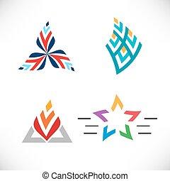 płaski, komplet, gwiazda, rectangle., trójkąt, wektor, style., ikona