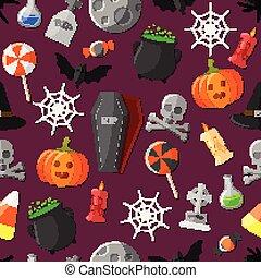 płaski, komplet, halloween, ikony
