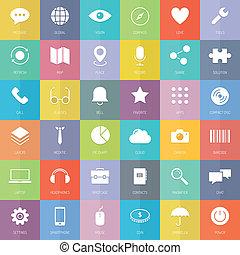 płaski, komplet, handlowe ikony, nowoczesna technologia