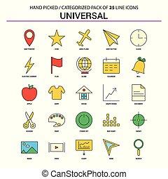 płaski, komplet, handlowe ikony, uniwersalny, -, pojęcie, projektować, kreska, ikona