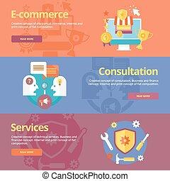płaski, komplet, handlowy, pojęcia sieći, materiały, projektować, e-handel, services., druk, chorągwie, konsultacja