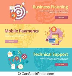 płaski, komplet, handlowy, support., ruchomy, techniczny, wpłaty, materiały, projektować, pojęcia sieći, druk, planowanie, chorągwie
