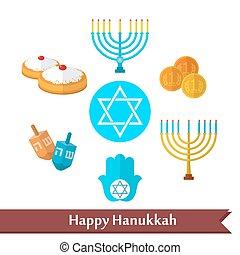 płaski, komplet, hanukkah, wektor, ikona, szczęśliwy