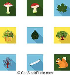 płaski, komplet, ikony, cielna, symbol, ilustracja, wektor, zbiór, pień, style., las