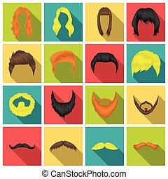 płaski, komplet, ikony, cielna, symbol, zbiór, wektor, ilustracja, broda, style., pień