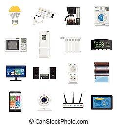 płaski, komplet, ikony, dom, internet, rzeczy, mądry