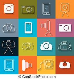 płaski, komplet, ikony, fotografia, wektor, projektować