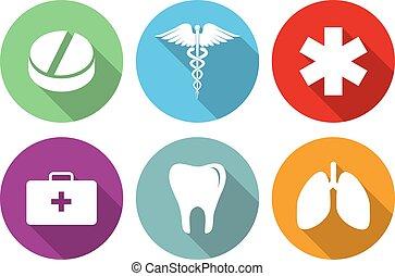 płaski, komplet, ikony, medyczny, długi, projektować, cień