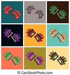 płaski, komplet, ikony, sala gimnastyczna, rękawiczki, projektować