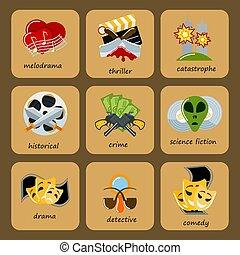 płaski, komplet, illustration., ikony, film, symbol, kino, rozrywka, dramat, kinematografia, wektor, thriller, rodzaj, komedia, produkcja