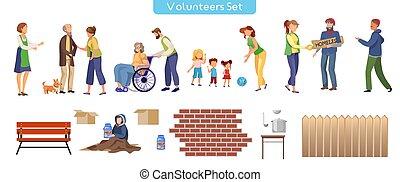 płaski, komplet, ilustracje, ochotnik, pomoc