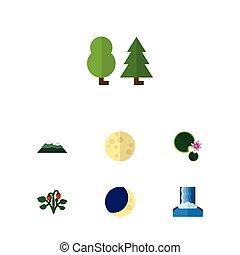 płaski, komplet, kasownik, elements., drzewo, księżyc,...