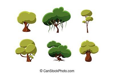 płaski, komplet, kasownik, elements., ruchomy, drzewa., rysunek, gra, wektor, zielony, projektować, komputer, albo, krajobraz
