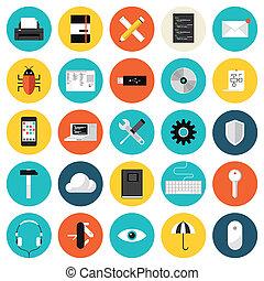 płaski, komplet, kodowanie, programowanie, ikony