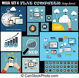 płaski, komplet, komputer, mega, ilustracja, wektor, projektować