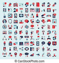 płaski, komplet, komunikacja, retro, ikony