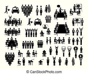 płaski, komplet, ludzie, ikony, ilustracja, wektor, styl