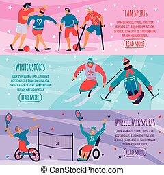 płaski, komplet, ludzie, niepełnosprawny, sport, chorągiew