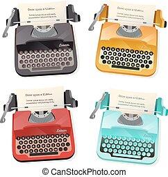 płaski, komplet, maszyna do pisania