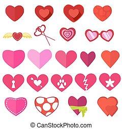 płaski, komplet, miłość, ikony, valentine, odizolowany, day., tło., wektor, serca, biały, eps10., ilustracja