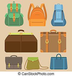 płaski, komplet, mnóstwo, ikony, -, wektor, backpacks