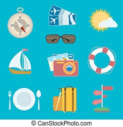 płaski, komplet, nawigacja, słońce, podróż, icons., bilety, wektor, busola, aparat fotograficzny, samolot, chmura, łódka