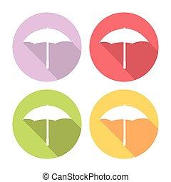 płaski, komplet, parasol, ikona, ikony