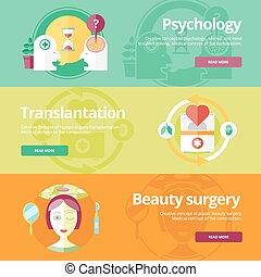 płaski, komplet, piękno, sieć, przeszczepienie, medyczny, psychologyst, surgery., projektować, pojęcia, druk, chorągwie, materials.