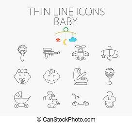 płaski, komplet, powinowaty, wektor, niemowlę, ikona