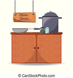 płaski, komplet, przybory, ikona, narzędzia, kuchnia