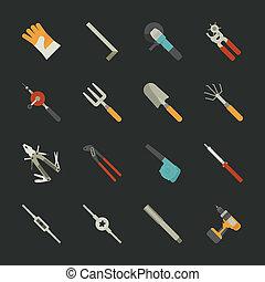 płaski, komplet, ręka, projektować, narzędzia, ikona