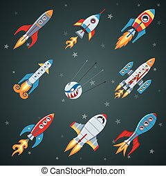 płaski, komplet, rakiety, ikona