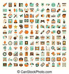 płaski, komplet, retro, sieć, ikona