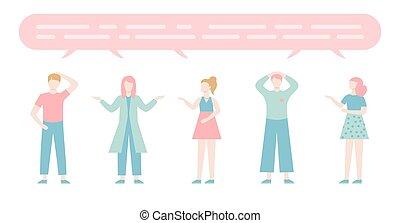 płaski, komplet, rozmawianie, characters., grupa, ludzie, mowa, rysunek, mężczyźni, mówiąc., kobiety, bubbles., dialog