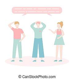 płaski, komplet, rozmawianie, characters., każdy, mowa, ludzie, dziewczyna, rysunek, mężczyźni, pogawędka, inny., dwa, bubbles., dialog