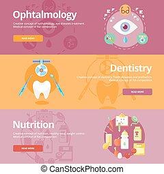 płaski, komplet, sieć, dentystyka, medyczny, chorągwie, projektować, pojęcia, druk, ophtalmology, nutrition., materials.