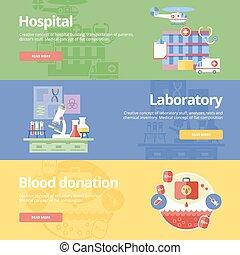 płaski, komplet, sieć, donation., medyczny, szpital, projektować, krew, pojęcia, druk, laboratorium, chorągwie, materials.