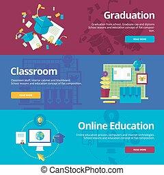 płaski, komplet, sieć, materials., skala, pojęcia, education., projektować, online, druk, chorągwie, wykształcenie, klasa