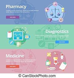 płaski, komplet, sieć, medyczne pojęcia, apteka, projektować, medicine., druk, diagnostyka, chorągwie, materials.