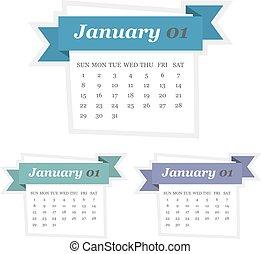 płaski, komplet, styczeń, projektować, 2017, kalendarz, wstążka