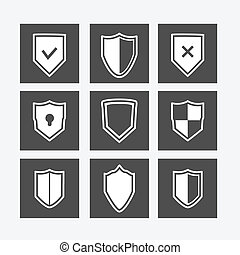 płaski, komplet, tarcza, ikony