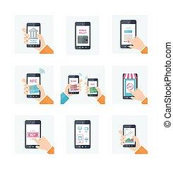 płaski, komplet, technologia, ikony, ruchomy, portfel, nfc, bankowość, sieć, online shopping, włączony