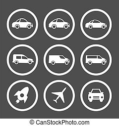 płaski, komplet, wóz, ikony