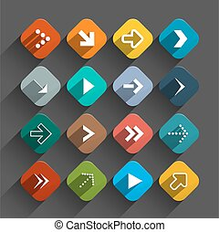 płaski, komplet, zaokrąglony, barwny, ikony, -, app, strzały, pikolak, wektor, projektować, kwadraty